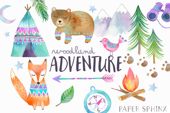 Watercolor woodland tribal animals. Adventure clipart