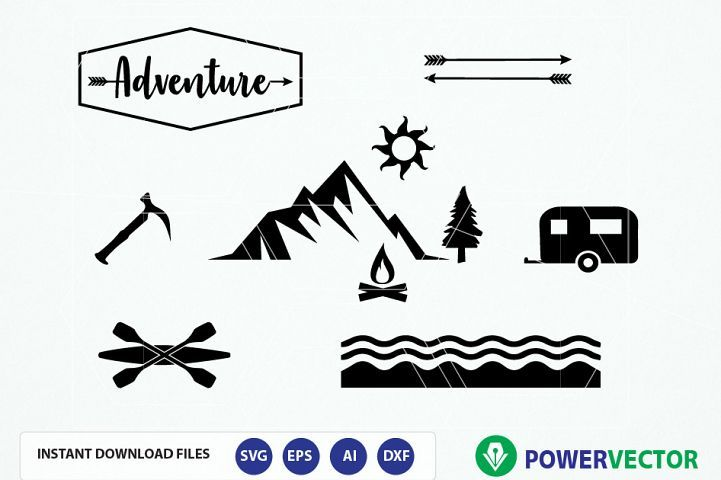 Adventure svg collection cut. Camper clipart outdoor activity