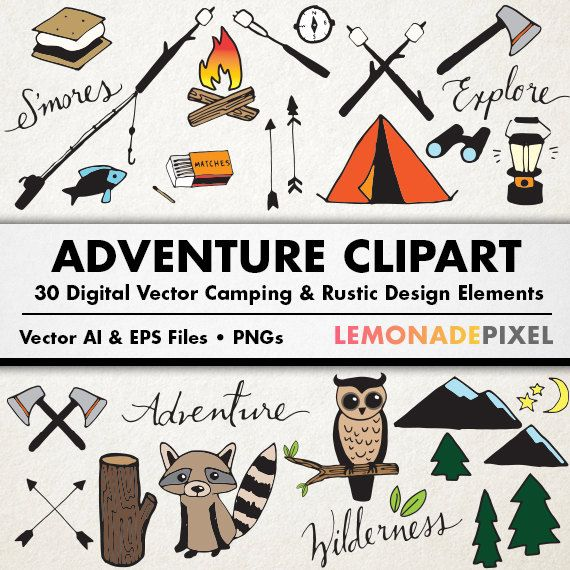 Rustic drawings hand drawn. Camping clipart adventure camp