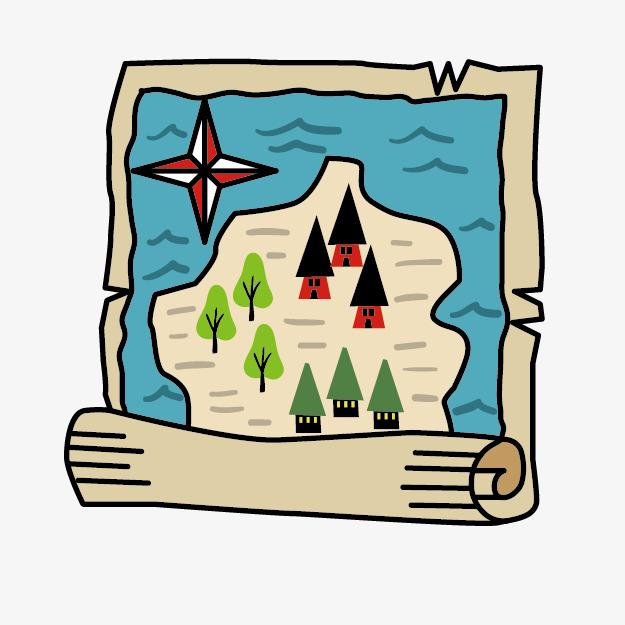 Cartoon treasure color hand. Adventure clipart adventure map