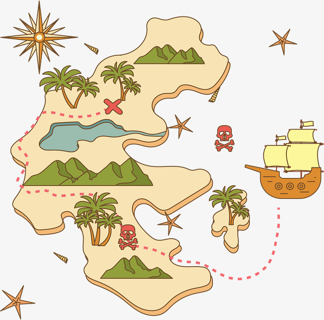 Adventure clipart adventure map. Hand painted island vector
