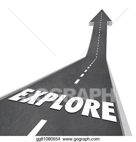 Adventure clipart adventure word. Stock illustration explore road