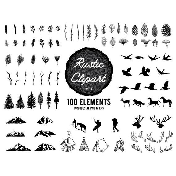 Forest animals woodland animal. Adventure clipart black and white