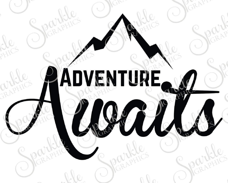 Adventure clipart black and white. Awaits cut file wanderlust