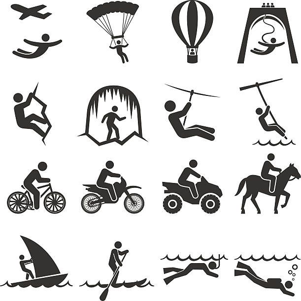 Travel icon set vector. Adventure clipart black and white