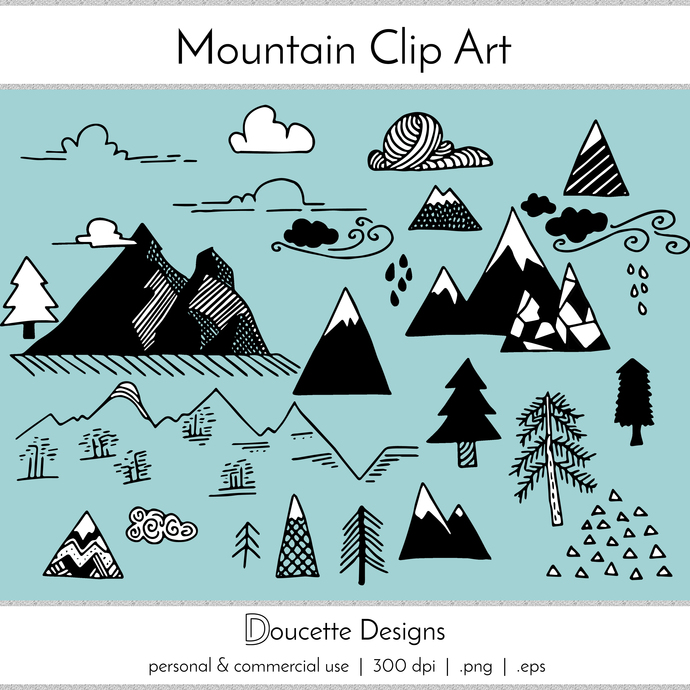 Adventure clipart black and white. Hand drawn mountain clip