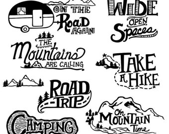 Camper clipart outdoor adventure. Free black and white