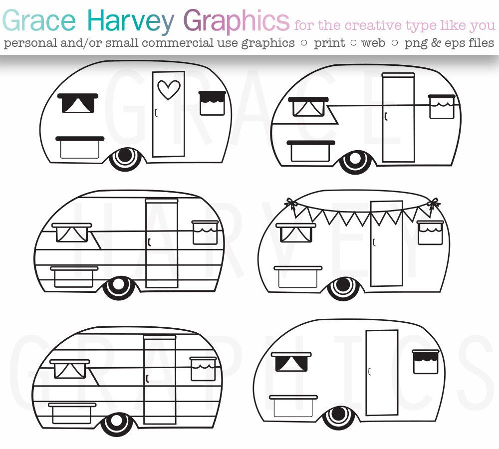 Vintage template google search. Camper clipart simple