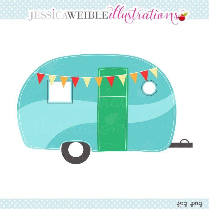 Camper clipart scene. Caravan jw illustrations jwi