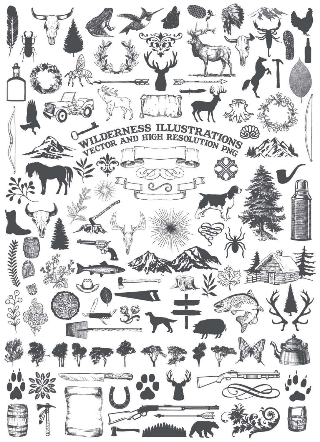 Hunting clipart vector element. Camping animal nature rustic
