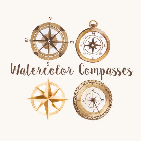 Watercolor compasses compass clip. Explorer clipart compus