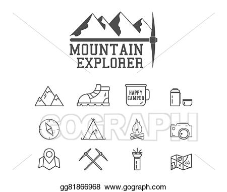Badge clipart camping. Mountain explorer camp logo
