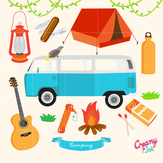 Camping digital vector clip. Camper clipart outdoor adventure