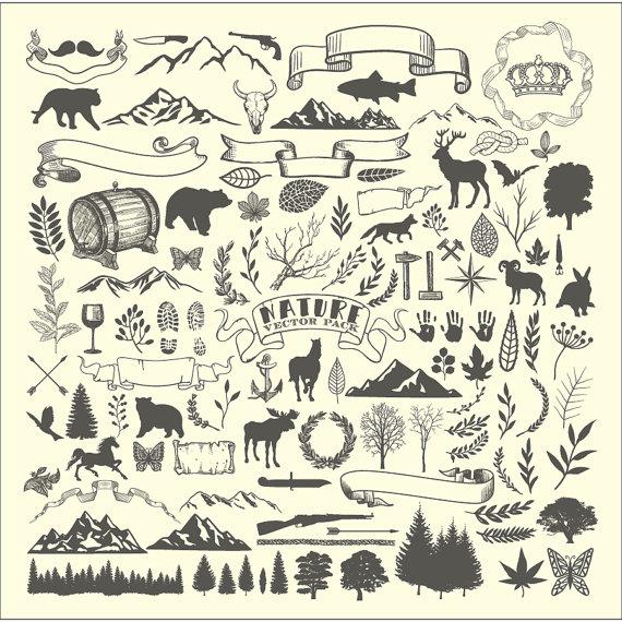 Adventure clipart line art. Lumberjack mountain animal hunting