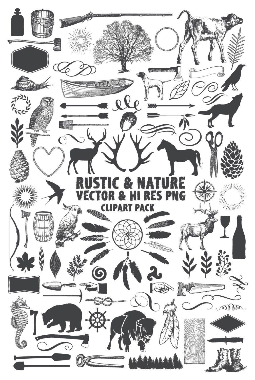 Rustic pack hunting lumberjack. Adventure clipart line art