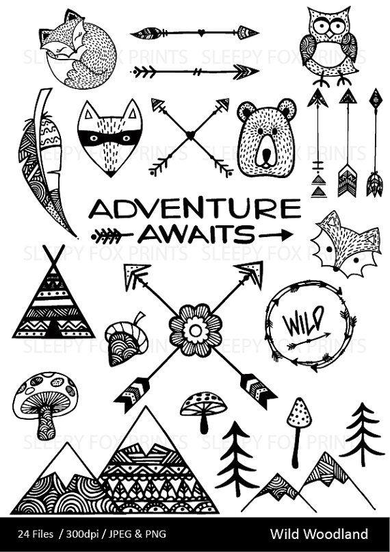 Wild woodland wilderness arrows. Adventure clipart line art