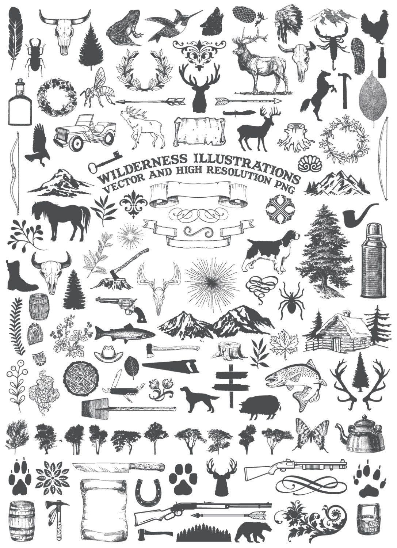 Camping animal nature rustic. Adventure clipart line art