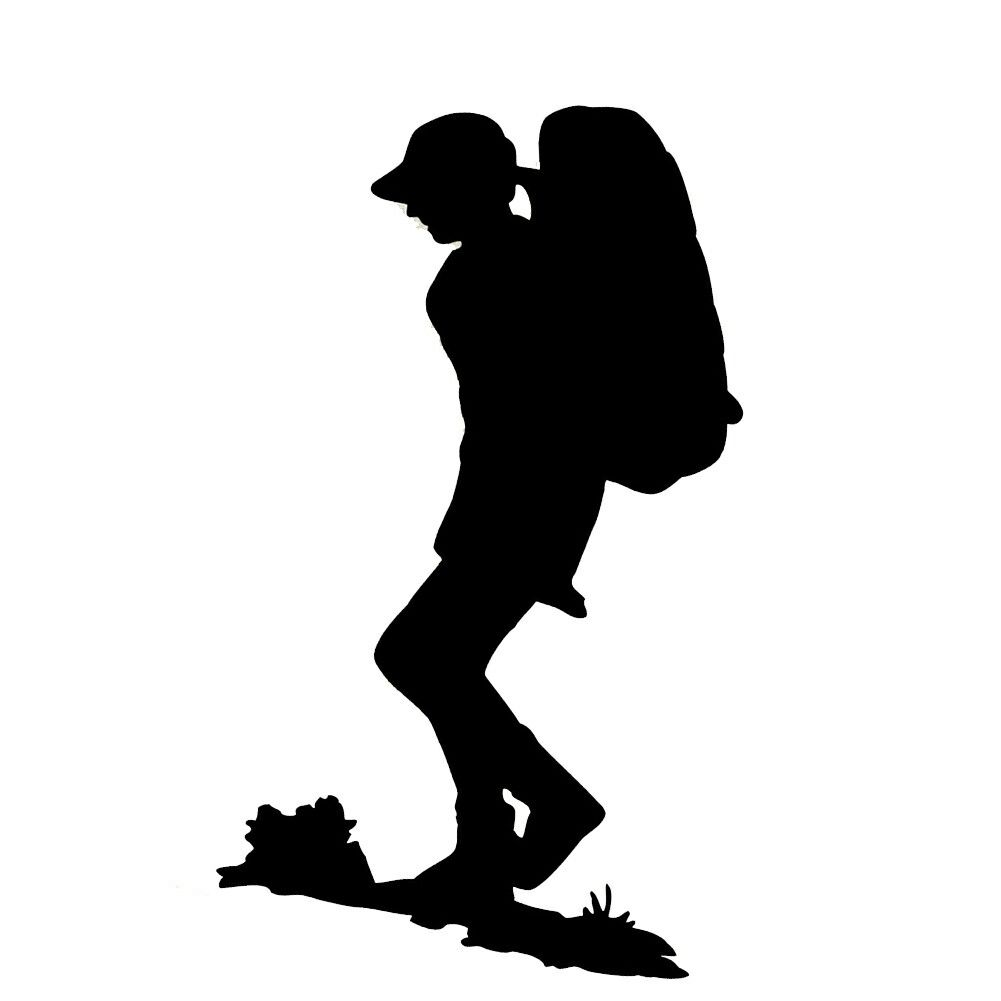 Hiking silhouette craft it. Hike clipart female hiker