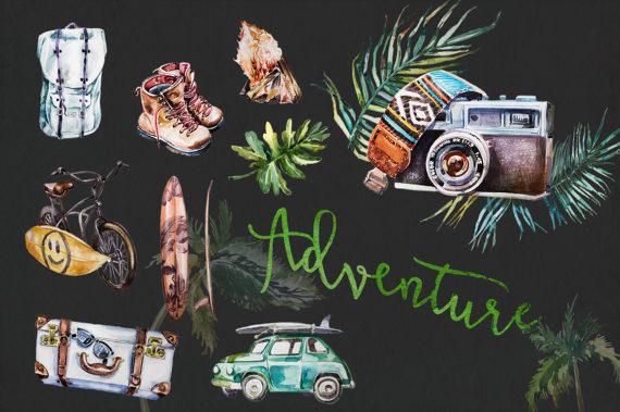 Watercolor set retro vehicles. Adventure clipart summer