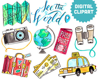 Airplane clipart watercolor. Travel vacation summer holiday