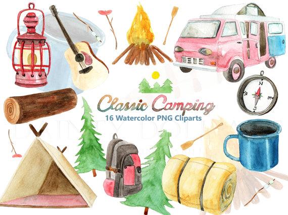 Camping watercolor digital download. Clipart tent travel