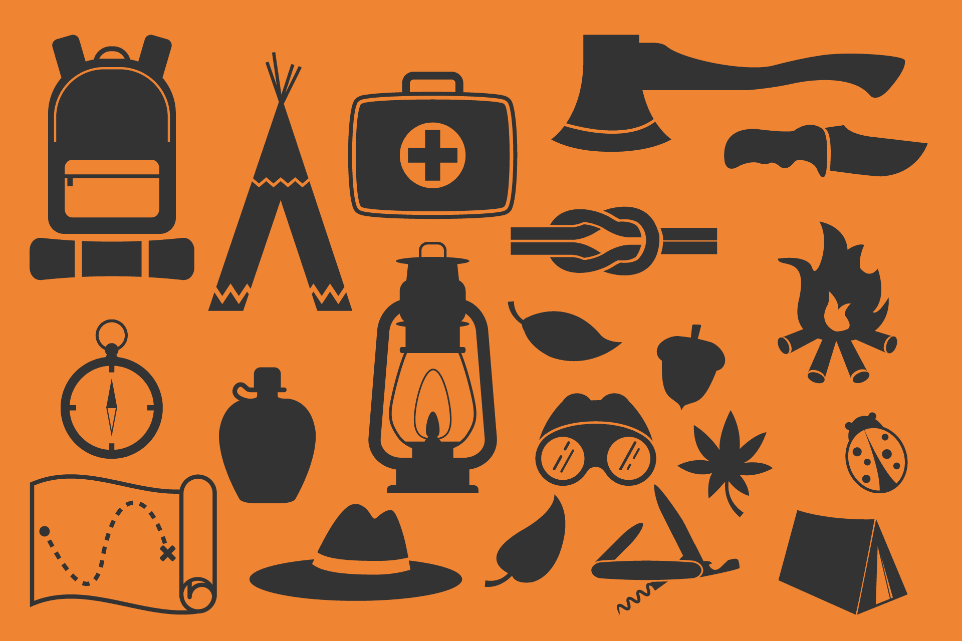 Basic outdoor gear for. Emergency clipart wilderness survival