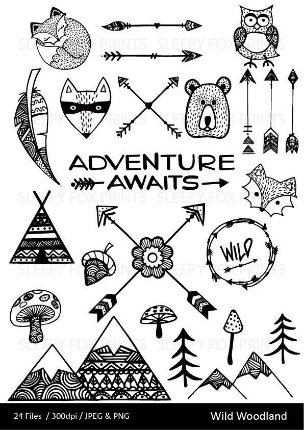 Wild wilderness arrows feather. Woodland clipart mountain