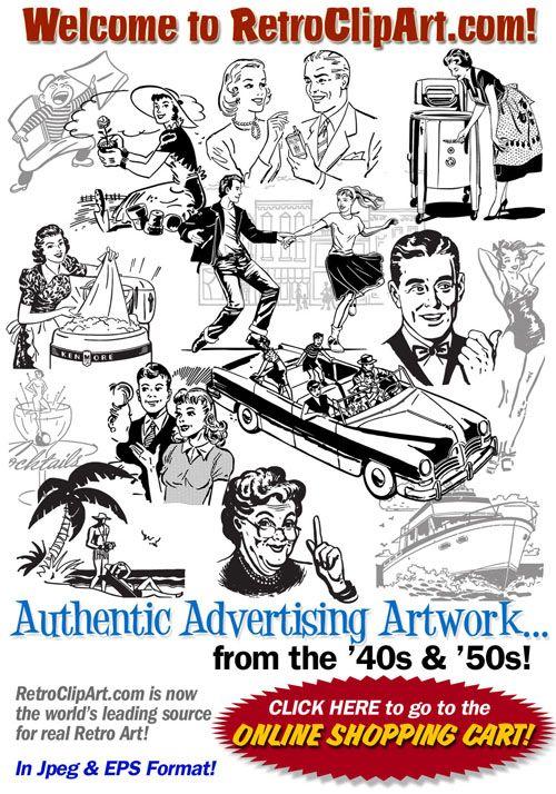 Retro clip art authentic. Advertising clipart 50's