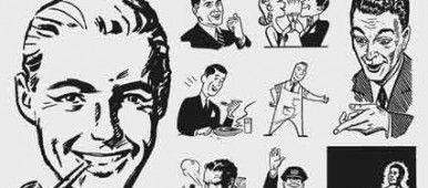 Free retro vectors freebies. Advertising clipart 50's