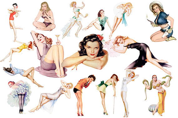 Pin up girls mid. Advertising clipart 50's