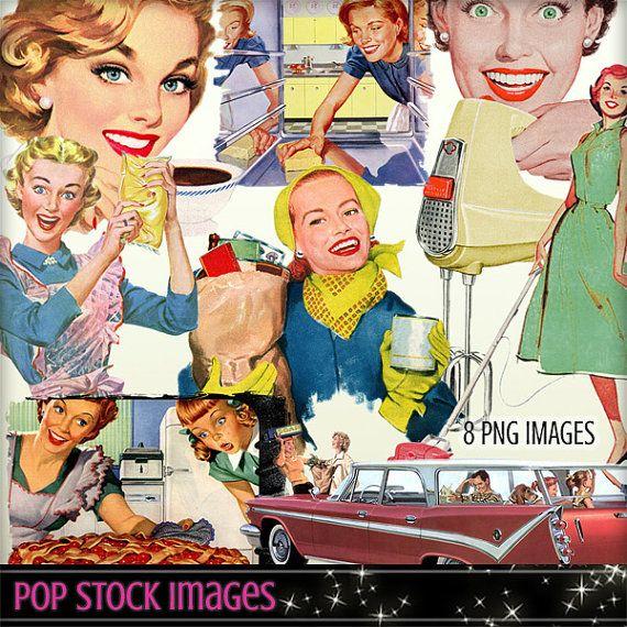 Advertising clipart 50's. Mid century elements retro