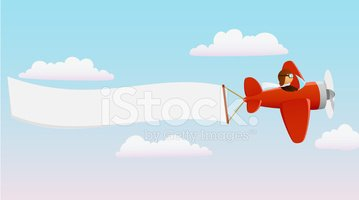 Cartoon red plane with. Banner clipart sky