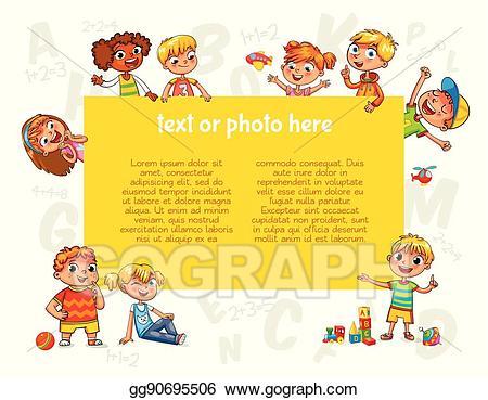 Vector illustration happy children. Advertising clipart brochure