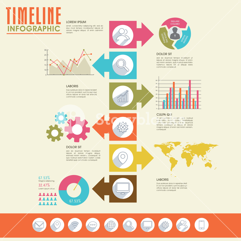 Advertising clipart free enterprise. Creative timeline infographic template