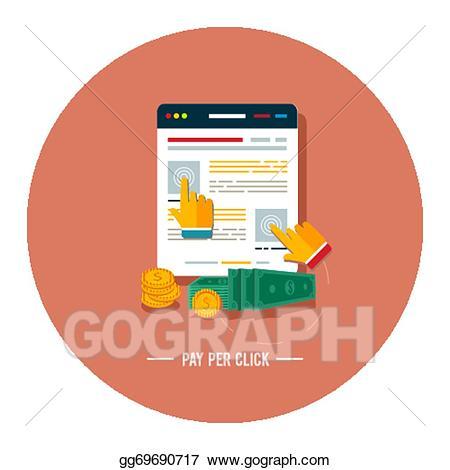 Vector illustration pay per. Advertising clipart internet