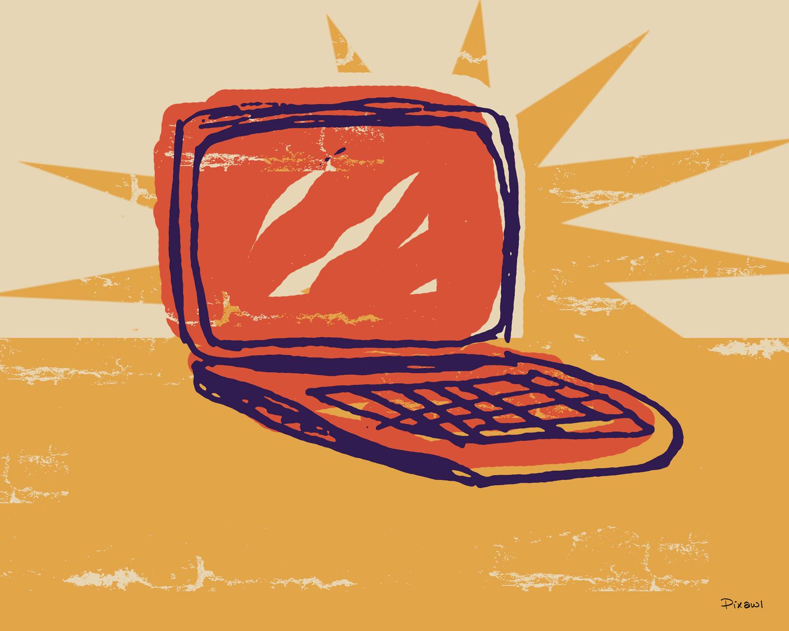 Advertising clipart internet. Free retro laptop illustration