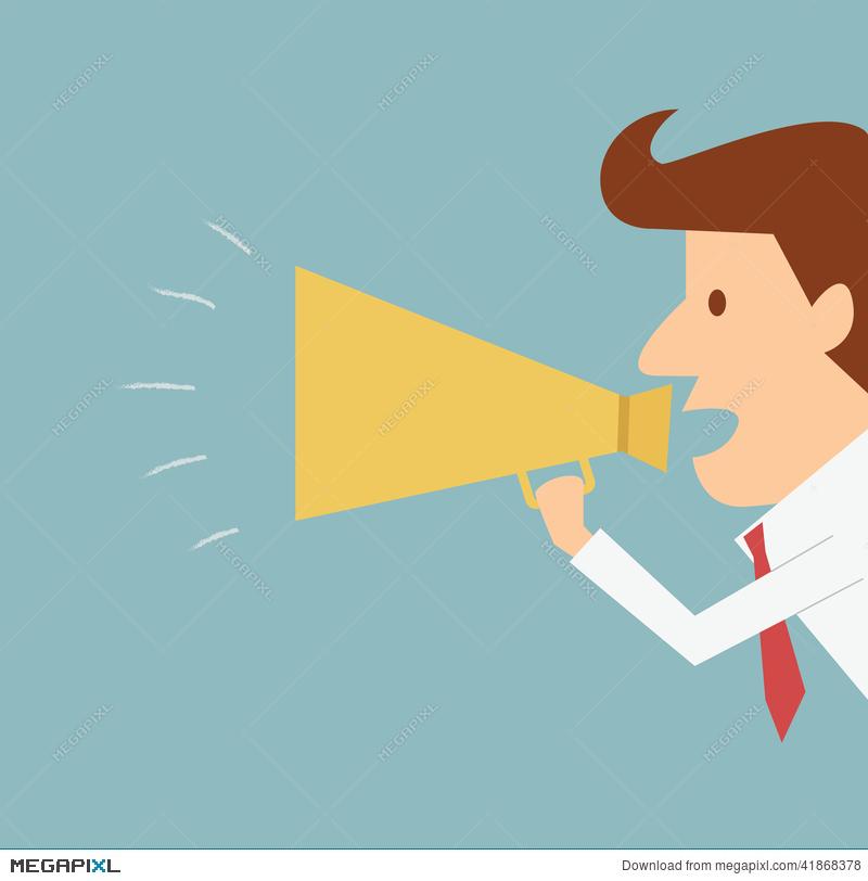 Advertising clipart megaphone. Man announcing through illustration