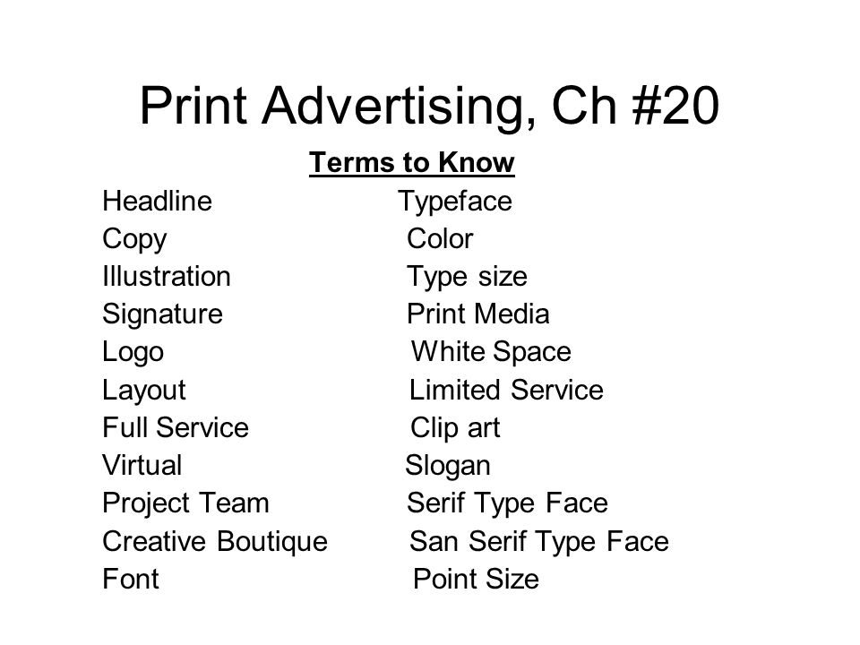 Advertising clipart print media. Ch terms to know