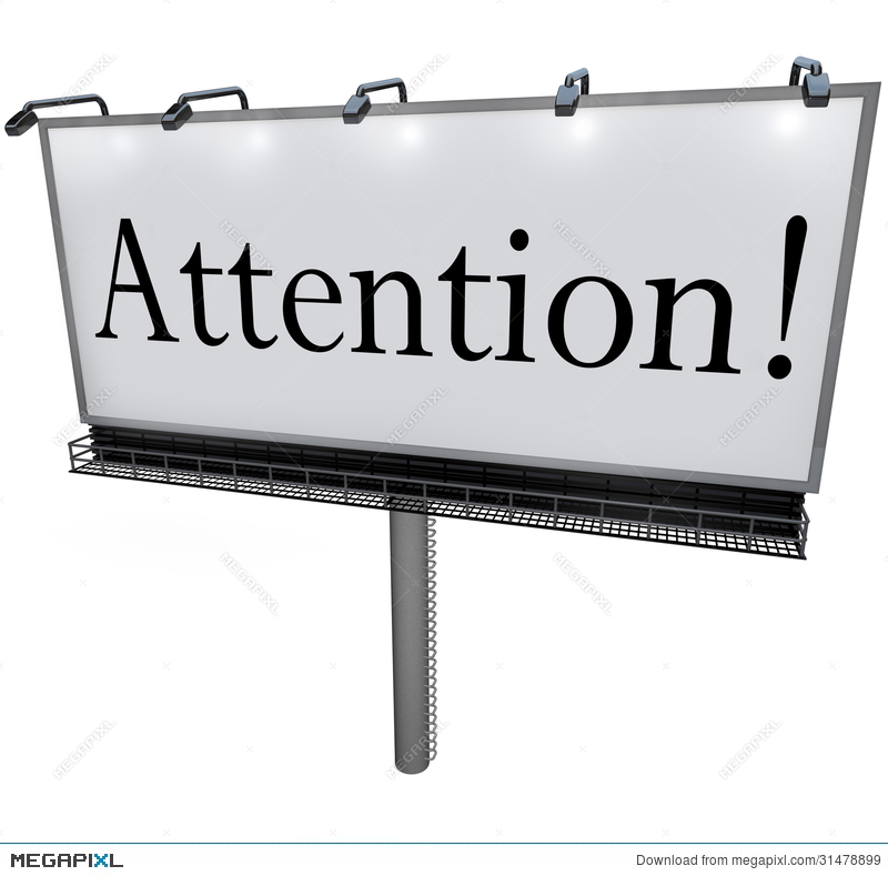 Attention on billboard special. Advertising clipart word