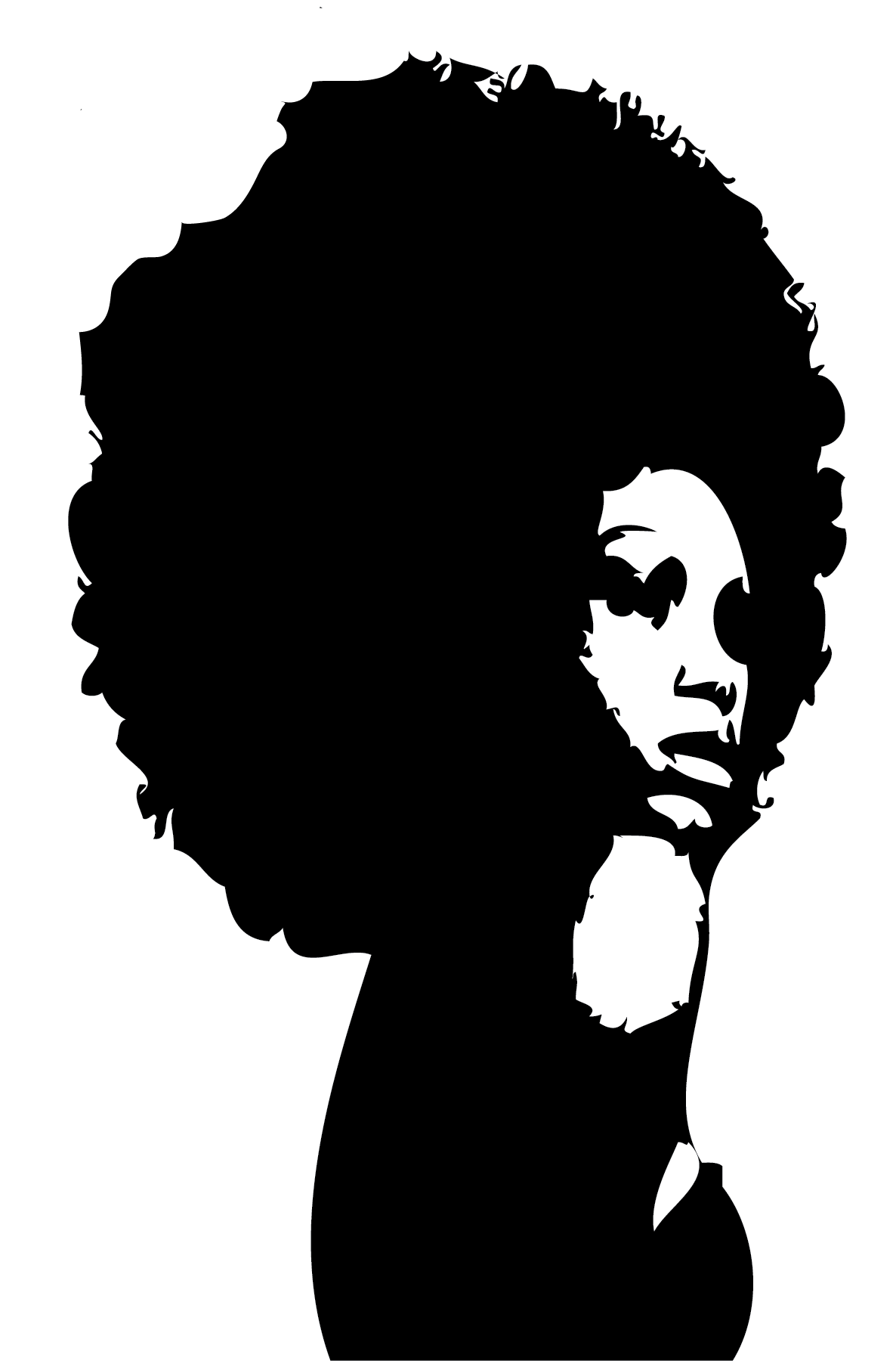Silhouette black african american. Afro clipart afro lady
