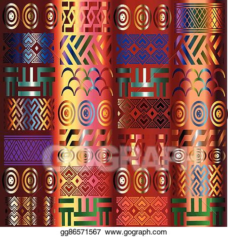 African clipart background. Vector stock pattern illustration