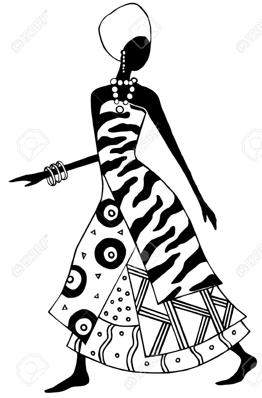 African clipart black and white. Woman vector stock