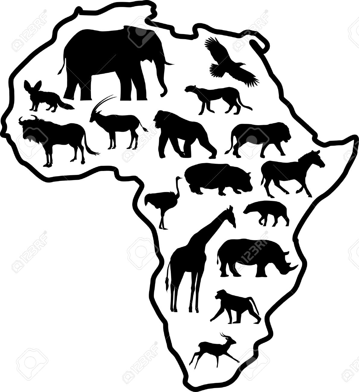collection of animals. African clipart black and white