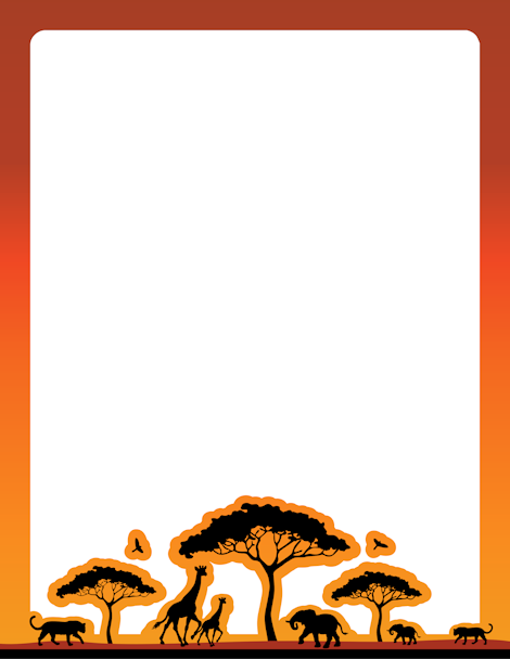 African clipart boarder. An safari themed page