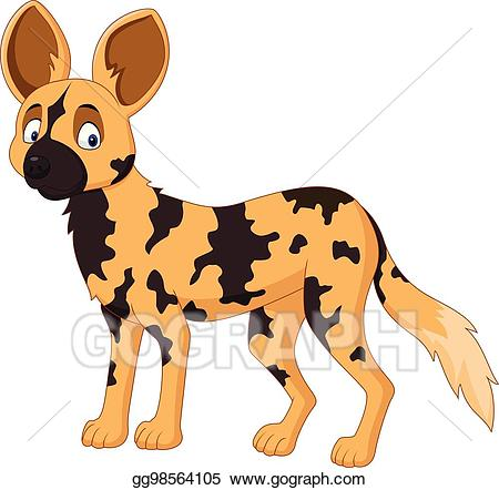 African clipart cartoon. Vector art wild dog