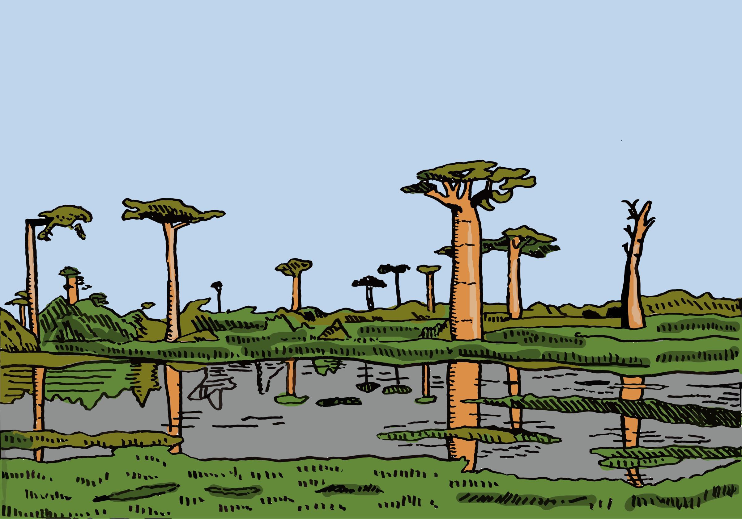 African clipart cartoon. Landscape big image png