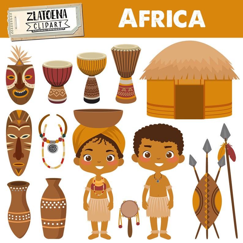 Africa zulu tribe digital. African clipart ethnic
