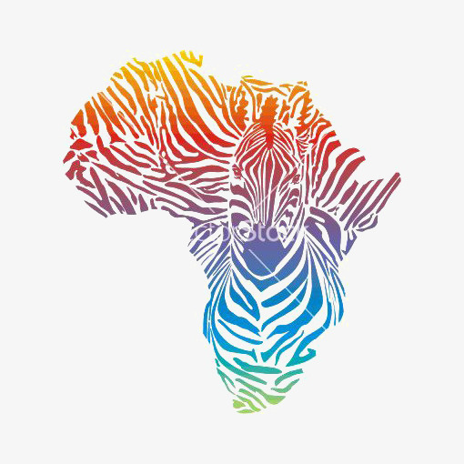 Map of color gradient. Africa clipart creative