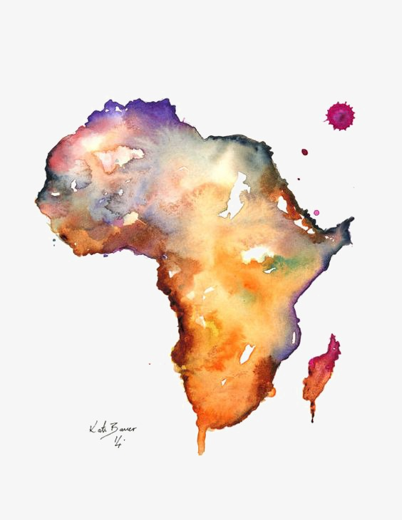Africa clipart creative. Map of watercolor png