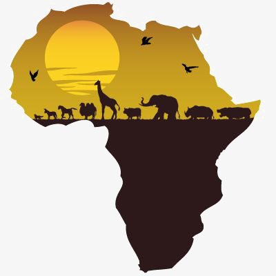 Africa clipart creative. Map of sunset elephant